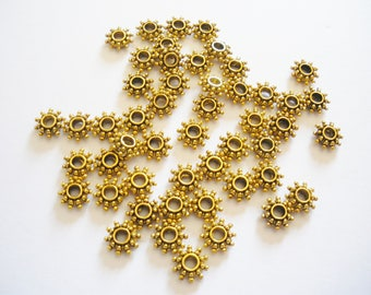 50 bead spacer antique gold spacers 8.5 x 3 mm