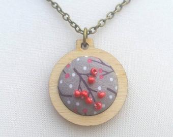 Berry pendant jewellery in mini embroidery hoop, antique bronze colour 32/18 inch chain mental health awareness beaded berries branch OOAK
