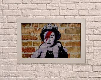 Industrial Queen Bowie White Frame Brick Wall Graffiti Style Artwork. Graffiti Art. Steampunk & 3D Ceramic Brick Panels and Framed. UK MADE