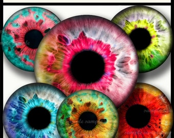 INSTANT DOWNLOAD Colorful Eyes (721) 4x6 1 inch round Bottle Cap Images Printable Digital Collage Sheet glass tile hair bows cabochon images