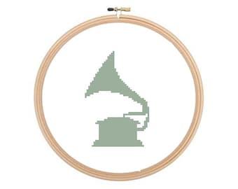 Gramophone - Cross stitch pattern, Gramophone Pattern, Music Cross Stitch, Vintage Cross Stitch, Vintage Pattern. Instant download