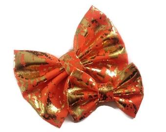Gold Foil Orange Bow | Fabric Bow | Handmade Hair Bow | Hair Clip | Headband