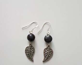 Earrings with clip in Silver 925 and labradorite and feather