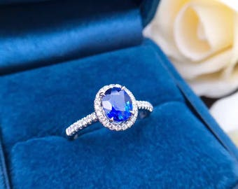 1.5 Carat Blue Sapphire Engagement Ring Sapphire Ring Oval Sapphire Ring Diamond Ring White Gold Ring