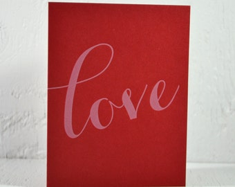 Letterpress Valentine card - love - white ink on red - valentines, wedding, anniversary - free US shipping