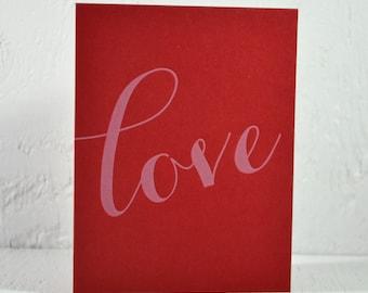 Letterpress Valentine card - love - white ink on red - valentines, wedding, anniversary - free US shipping