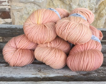 100% Sustainable Merino - 'Sustain Me' - PEACH KISS  - 19.5 microns - Handdyed - DK Weight - Eco-friendly