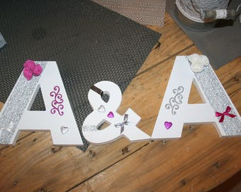 LETTERS romantic wedding white gray wood tones and fuchsia pink with standing or hanging customizable
