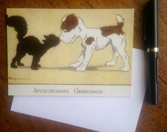 Affectionate Greetings Lovely Vintage Card Repro Featuring Dog and Cat