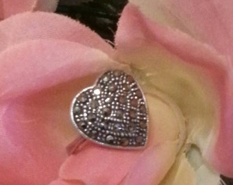 Marcasite Heart Ring, Sterling Silver Marcasite Ring, Silver Heart, Solid, Patina, Sterling Silver