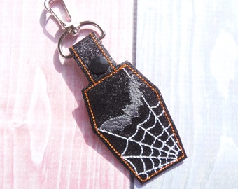 Key Fob Coffin, Bat and spider's web snap tab machine embroidery design ITH. Halloween In the hoop design. Embroidery file. Instant download