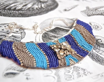 REDUCED- The Blues Bib Statement Necklace
