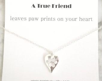 Paw Necklace, Dog Paw Necklace, Paw Print Necklace, Silver Paw Necklace, Friend Necklace, Dog Necklace, Cat Necklace, Tiny Paw Necklace, Paw