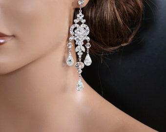 Chandelier Wedding Earrings Swarovski Crystal Bridal Earrings Long Vintage Style Art Deco Rhinestone Showstoppers for Brides Formal   CHLOE