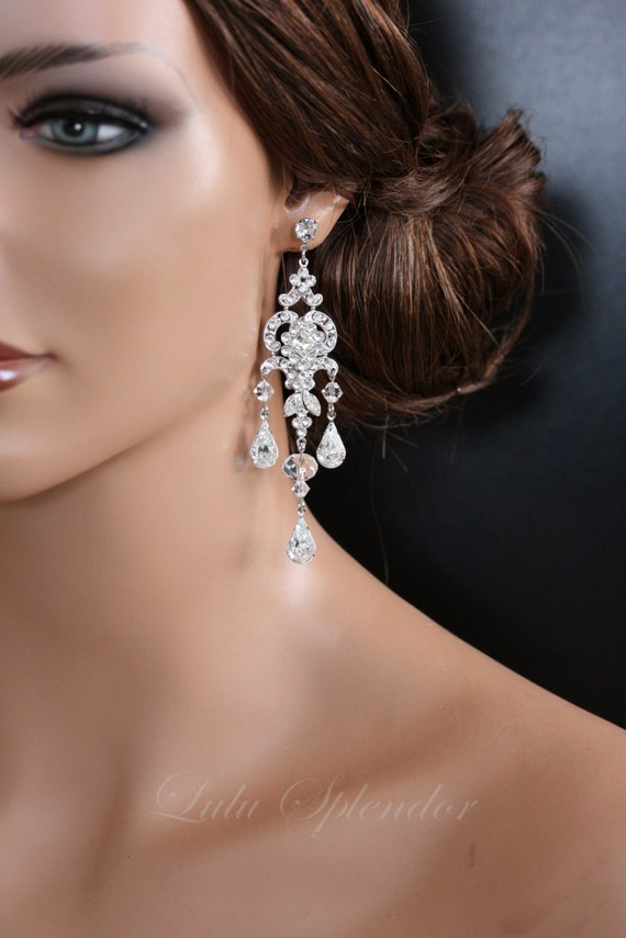 Chandelier wedding earrings swarovski crystal bridal earrings like this item mozeypictures Choice Image