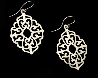 Sterling Silver Small Everyday Dangle Earrings - Arabesque Metal Lace - QUEEN OF MIRRORS