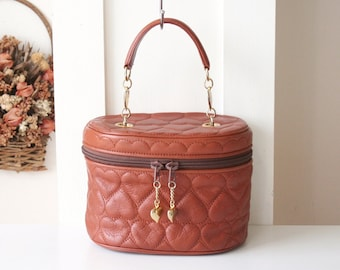 Moschino bag Heart quilt Case brown leather vintage authentic purse