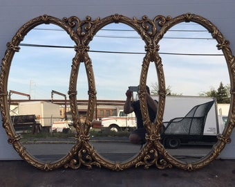 Huge Vintage Triple Mirror Room Size Mirror Gold Baroque