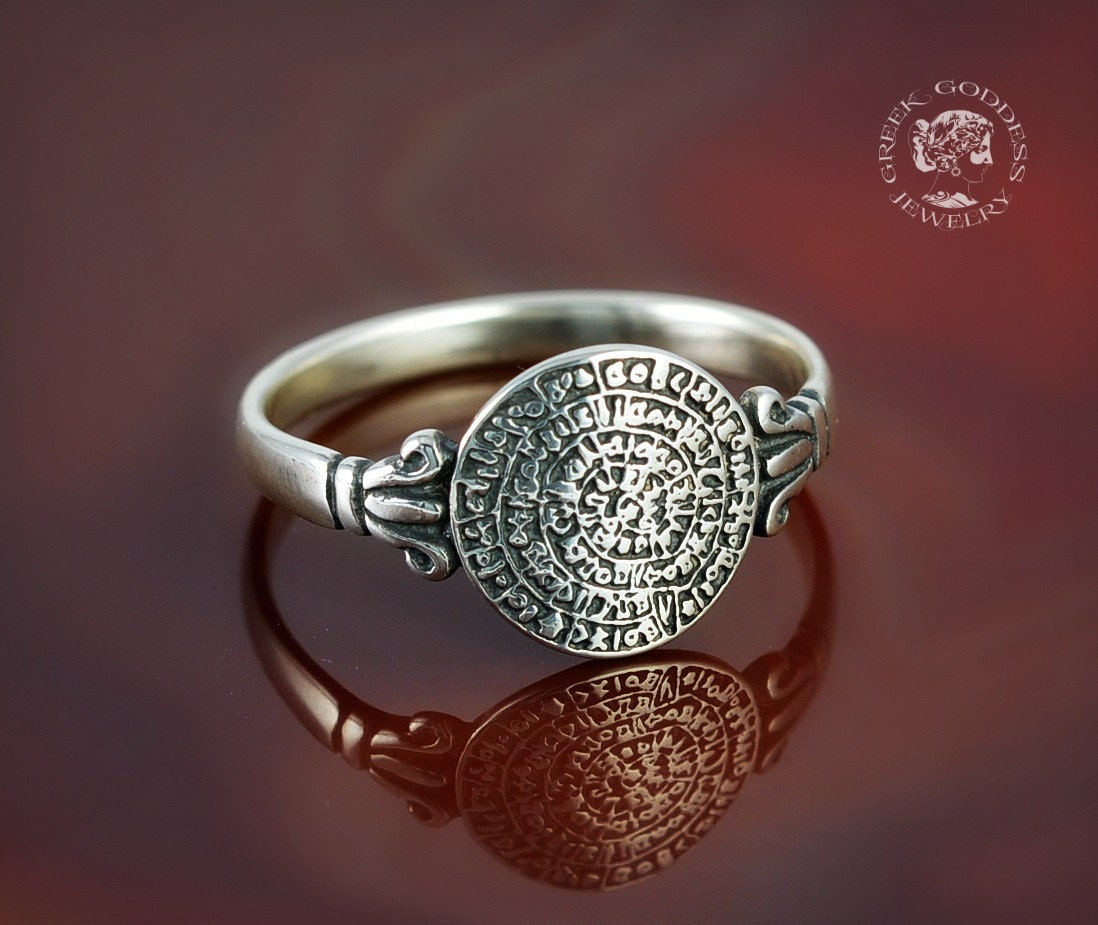 Disk Silvers: Phaistos Disc Silver Ring Antique Ring Phaistos Disk Silver