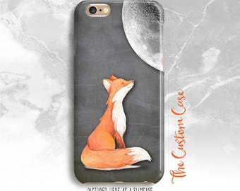Fox and Moon Phone Case, Chalkboard Fox Cell Phone Case, Iphone X Case, Iphone 8, Samsung Galaxy S3/S4/S5/S6/S6 Edge/6Edge+, Note 3/4/5/8