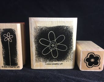 Floral Stamps Rubber Stamps Set of 3