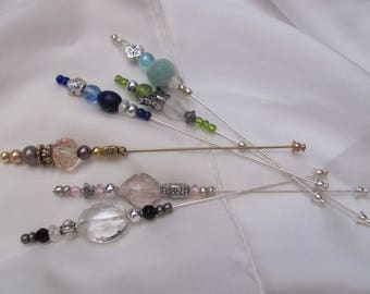 "Hat Pin Beaded Brooch Lapel Hat Hijab Scarf Pin Stick 5"" Inch Long - Many to Choose From! (#02)"