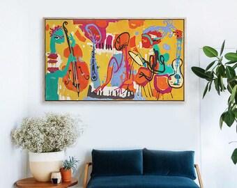 Musician painting, canvas print, wall art