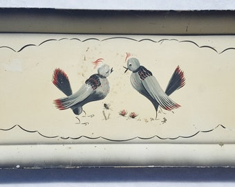 Vintage 1950's Lovebirds Design Painted Metal Tray