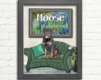 Rottweiler Poster / Funny Dog Art / Rottweiler Gift / Rottweiler Sign / Rottweiler Decor / Rottweiler Art / Dog Lover