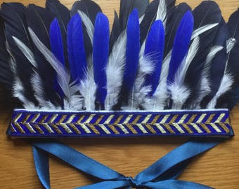 Blue, white and gold feather headdress, feather  crown, festival wear, boho, fancy dress