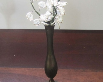 Vintage Glass Beaded Flowers, White and Gold French Beaded Flowers, Hand Made, Vintage Brass Vase, India