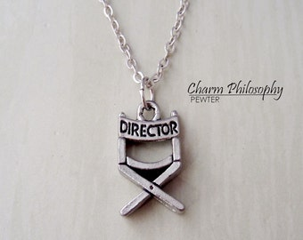 Director's Chair Necklace - Movie Director Necklace - Antique Silver Pewter Jewelry