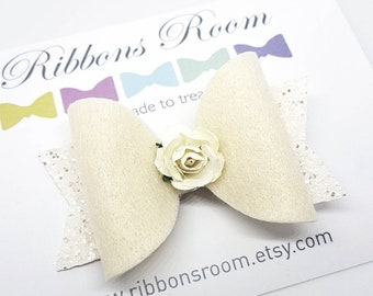 Cream hair bow, bridesmaids hair bow, cream hair clip, pony tail hair bow, hair bows, toddler hair bows, confirmation hair bows, baby bows