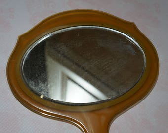 Vintage Amber Celluloid Hand Mirror 1930s -1940s