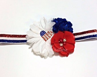 red white and blue headband, 4th of July headband, Memorial Day headband, forth of july headband, white headband, red headband, america