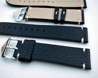 Black Leather Watch Band, Textured flexible leather, Hand Stitched Watch Strap,  20-22 MM Watch Band, Includes Tool & Pins - Item 12074br