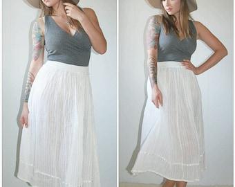 White Light Weight Boho Maxi Skirt