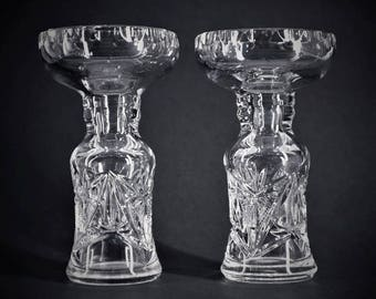 Set of 2 Candlesticks in Clear Handcarved Crystal
