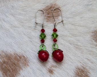 Glass Red Apple Earrings
