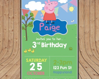 Personalised Peppa Pig Birthday Party Invitation DIGITAL You Print