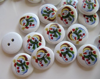 Christmas Holiday Buttons, Painted Wood Snowman, 5/8 Inches or 16mm, 20 Sewing Craft Buttons, 2 Holes, White, Green, Red, Yellow