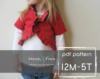 Ruffle Bolero pattern and tutorial PDF 12m-5T perfect for the holidays DIY jacket sweater shrug
