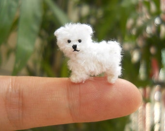 Maltese Puppy - Tiny Crochet Miniature Dog Stuffed Animals - Made To Order