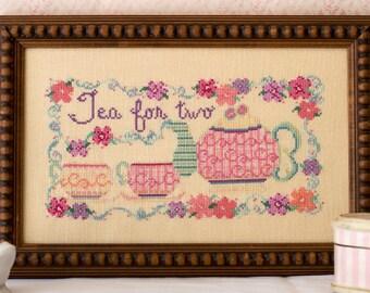 Teapot Flowers Cross Stitch Pattern