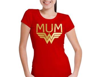 Wonder MUM red T-Shirt with gold vinyl.