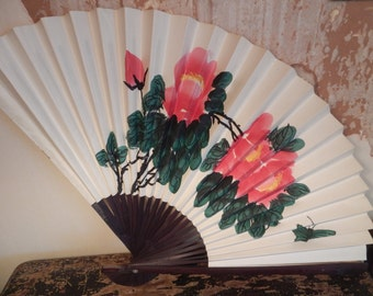 Beautiful Large Hand Painted Paper and Bamboo Asian Decorative Fan!