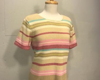 Liz Sport 90s pastel cotton shot sleeve lightweight sweater natural 90s sweater Sport