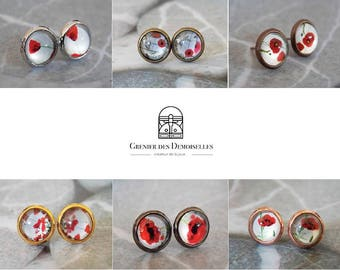 Metal poppies glass cabochons ear studs