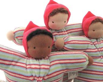 Waldorf doll // ecofriendly toy // cloth doll // natural fiber baby //  bunting baby // waldorf toy // cuddle doll // soft doll BST-1,2,3