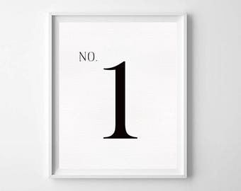 Number 1 Sign PRINTABLE - Number Print Art - Black and White Art - Typography Print - Minimalist Decor - Modern Minimalist print